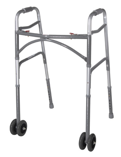 Double Button Bariatric Adult Folding Walker w/Wheels