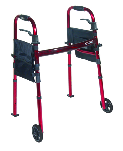 Deluxe Folding Travel Walker Red