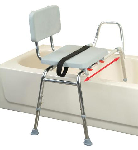 Snap N Save Sliding Transfer Bench w/Padded Seat & Back XL