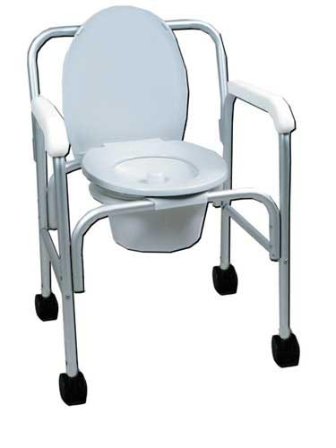 Aluminum Wheeled Commode w/12 Qt. Pail