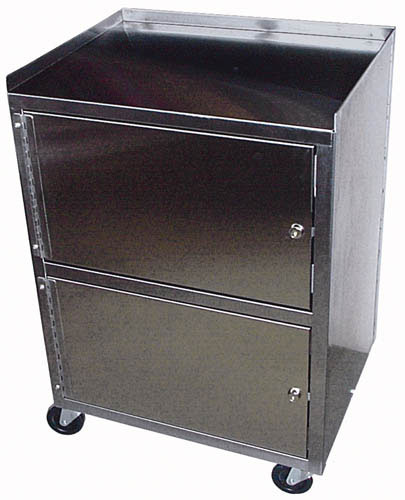 Cabinet Cart 3-Shelf St/S Dual Locking