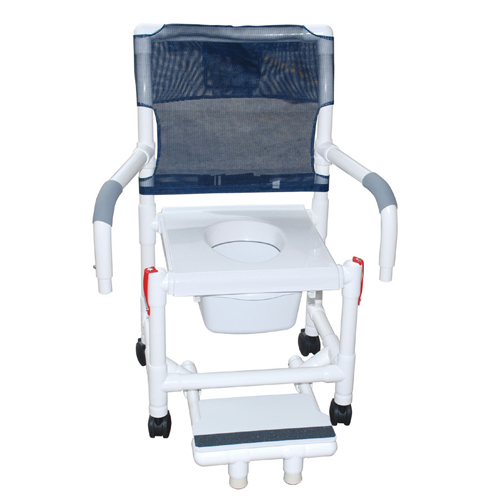 Shower Chair PVC w/Soft Seat & Folding Footrest