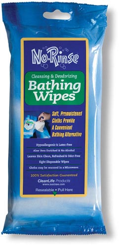 No Rinse Bathing Wipes Retail Package Pk/8