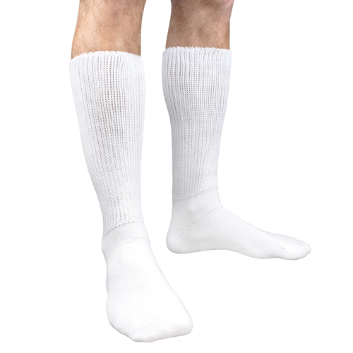Diabetic Socks White Pair M 10-13 Large