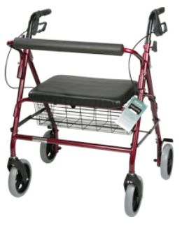 Rollator Bariatric w/Pad Seat Red w/Basket