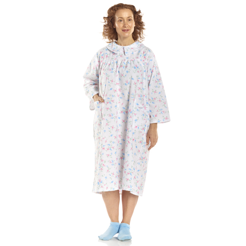 Flannelette Patient Gown Women Small-Medium Pink/Blue Floral